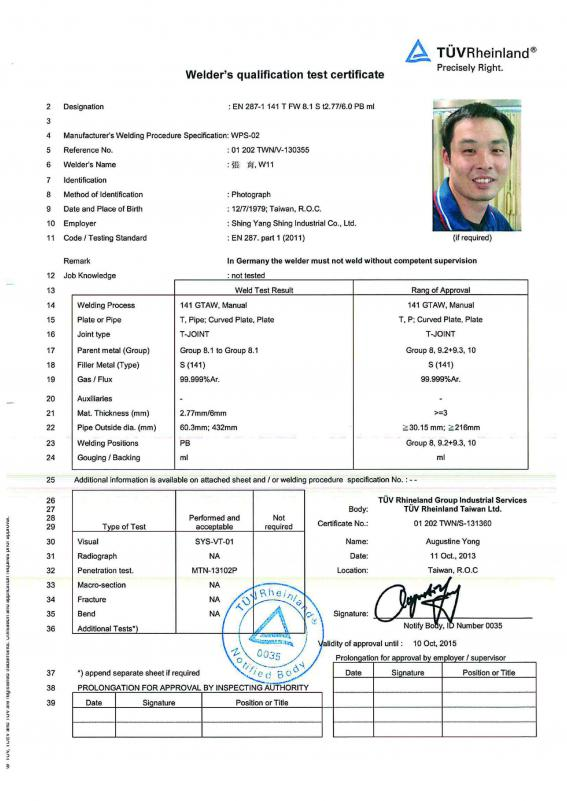 Technical Paper:Certificate of Welder   SYS Co. Ltd.<br>filter ...